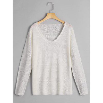 Buy WHITE L Loose Fit V Neck Pullover Knitwear for $21.19 in GearBest store