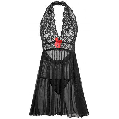 Buy BLACK 2XL Plus Size Open Back Plunge Babydoll for $18.69 in GearBest store