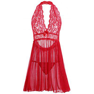 Buy RED 2XL Plus Size Open Back Plunge Babydoll for $18.69 in GearBest store