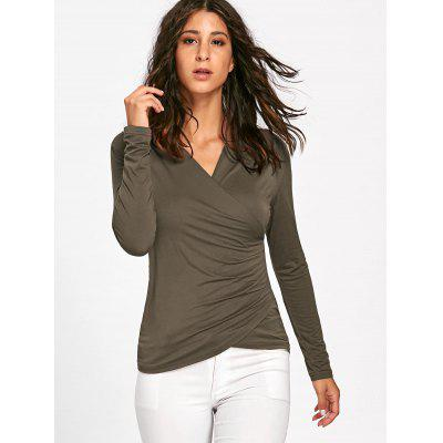 Ruched Long Sleeve Surplice TopBlouses<br>Ruched Long Sleeve Surplice Top<br><br>Collar: V-Neck<br>Material: Polyester, Spandex<br>Package Contents: 1 x Top<br>Pattern Type: Solid Color<br>Season: Fall, Spring<br>Shirt Length: Regular<br>Sleeve Length: Full<br>Style: Fashion<br>Weight: 0.1700kg