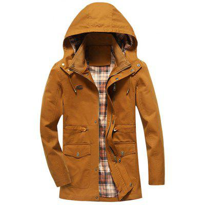 Buy YELLOW 4XL Hooded Drawstring Field Jacket for $53.69 in GearBest store