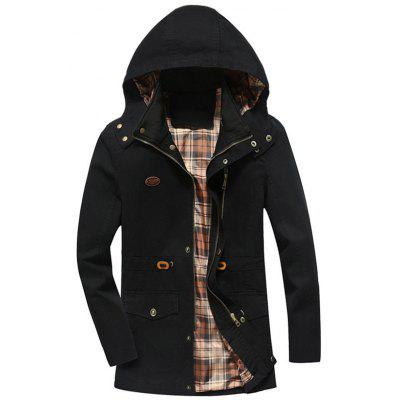 Buy BLACK 4XL Hooded Drawstring Field Jacket for $53.69 in GearBest store
