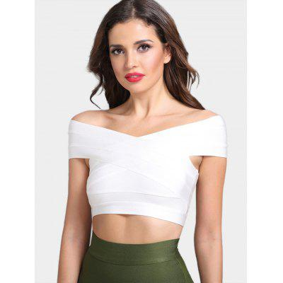 Off The Shoulder Plain Bandage Top