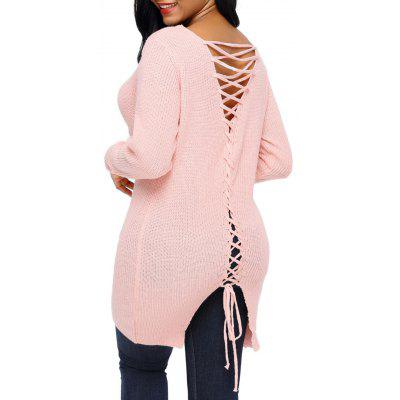 V Neck Back Lace-up Sweater