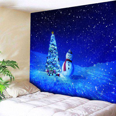 Christmas Tree Snowman Print Wall Tapestry