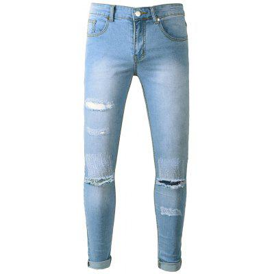 Light Wash Skinny Distressed Jeans