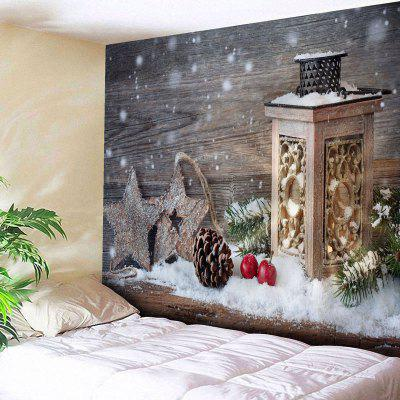 Christmas Printed Wood Grain Wall Tapestry