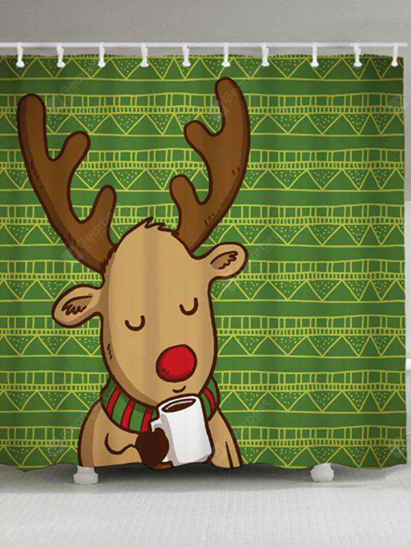 Christmas Deer Geometric Print Shower Curtain
