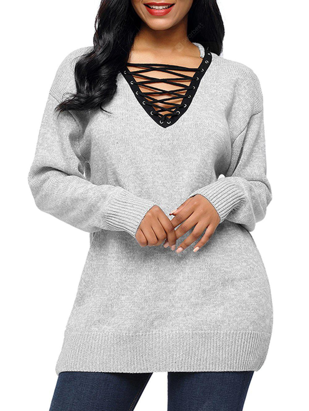 Drop shoulder Lace Up Tunic Sweater