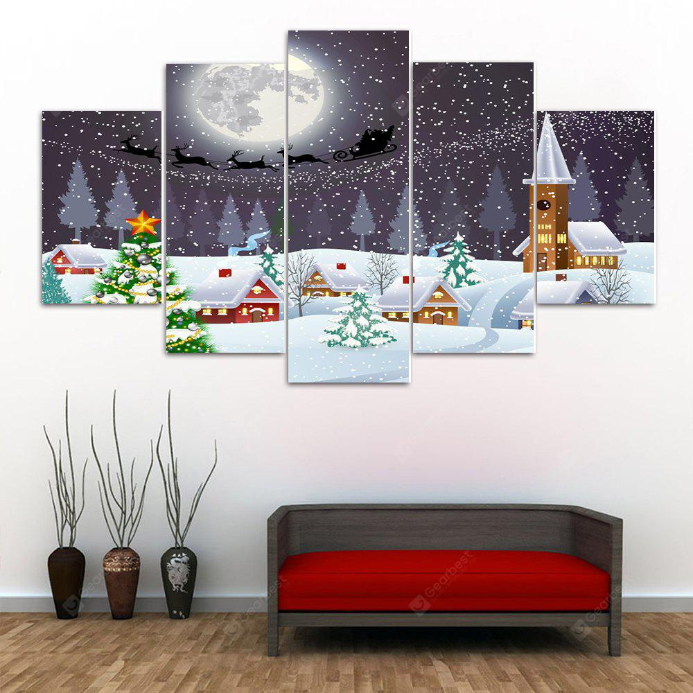 Christmas Town Print Split Canvas Wall Art Paintings