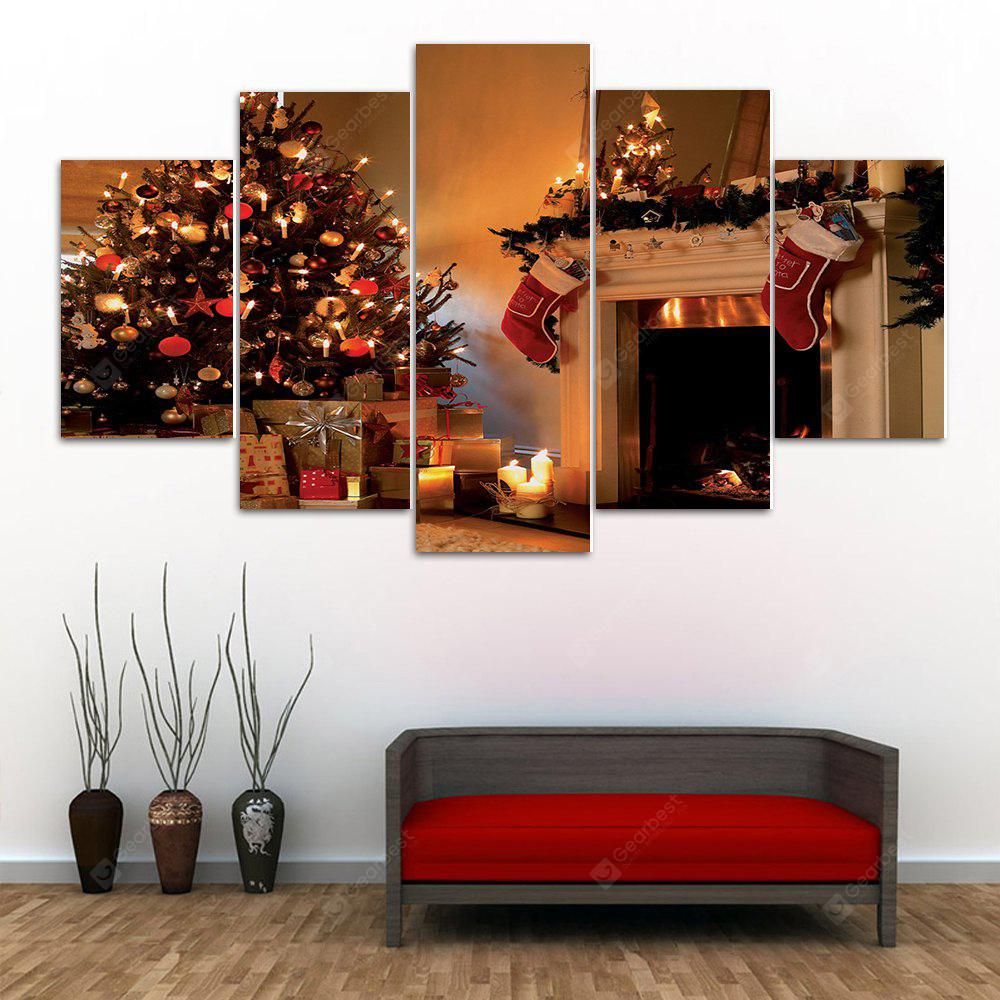 Christmas Tree Fireplace Print Unframed Canvas Split Paintings