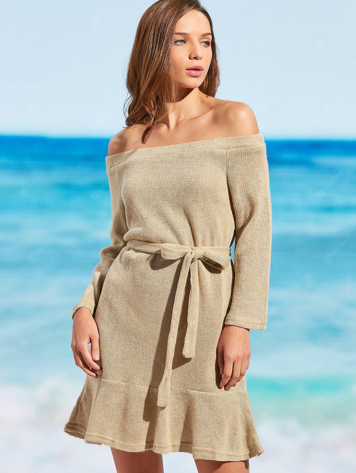 Off The Shoulder Knitted Cover-up Dress
