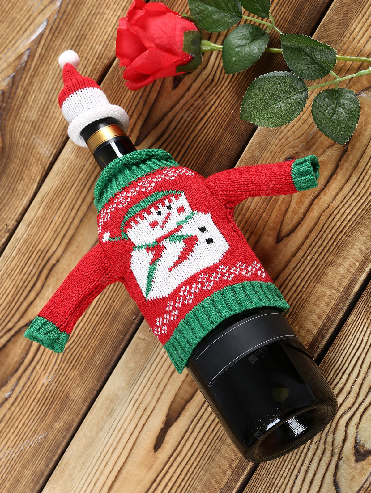 Snowman Sweater Christmas Wine Bottle Cover RED