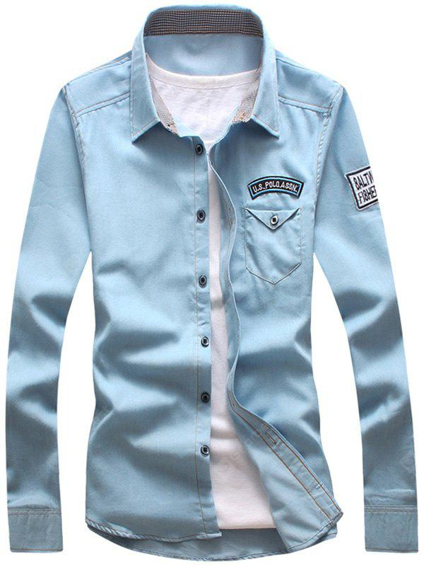 LIGHT BLUE Patch Design Chest Pocket Shirt