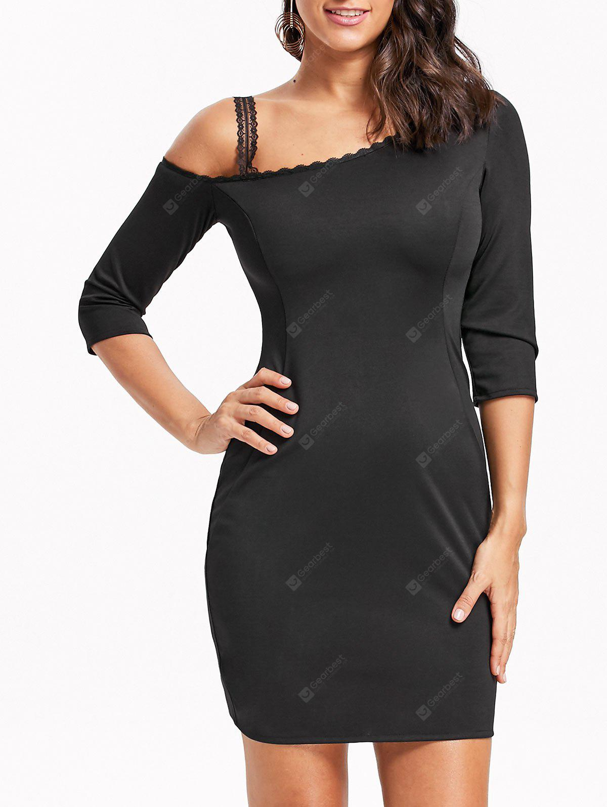 Skew Neck Lace Trim Bodycon Mini Dress
