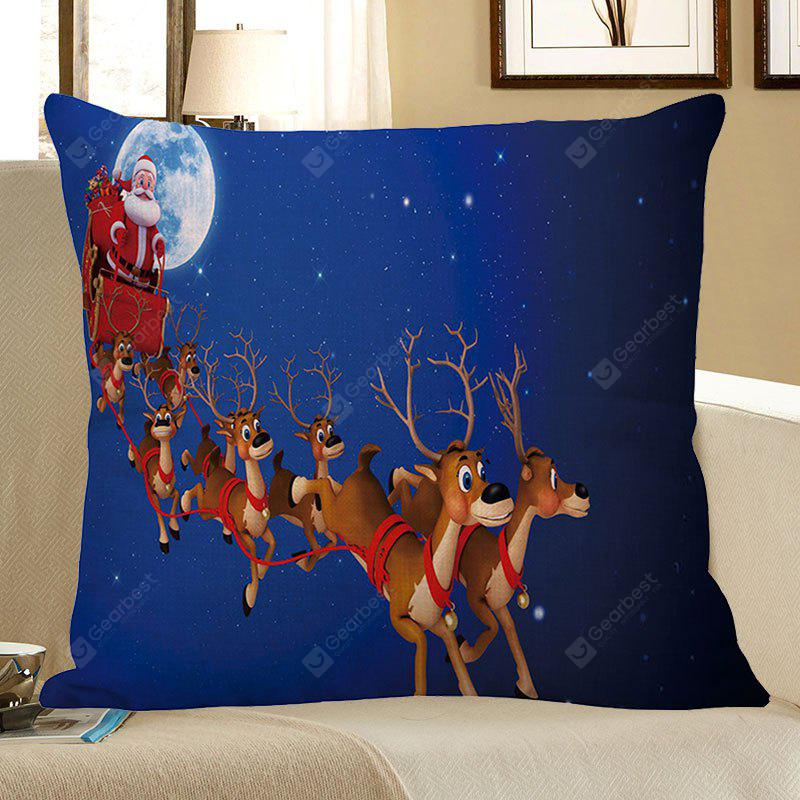 BLUE Christmas Carriage Elk Printed Decorative Pillow Case