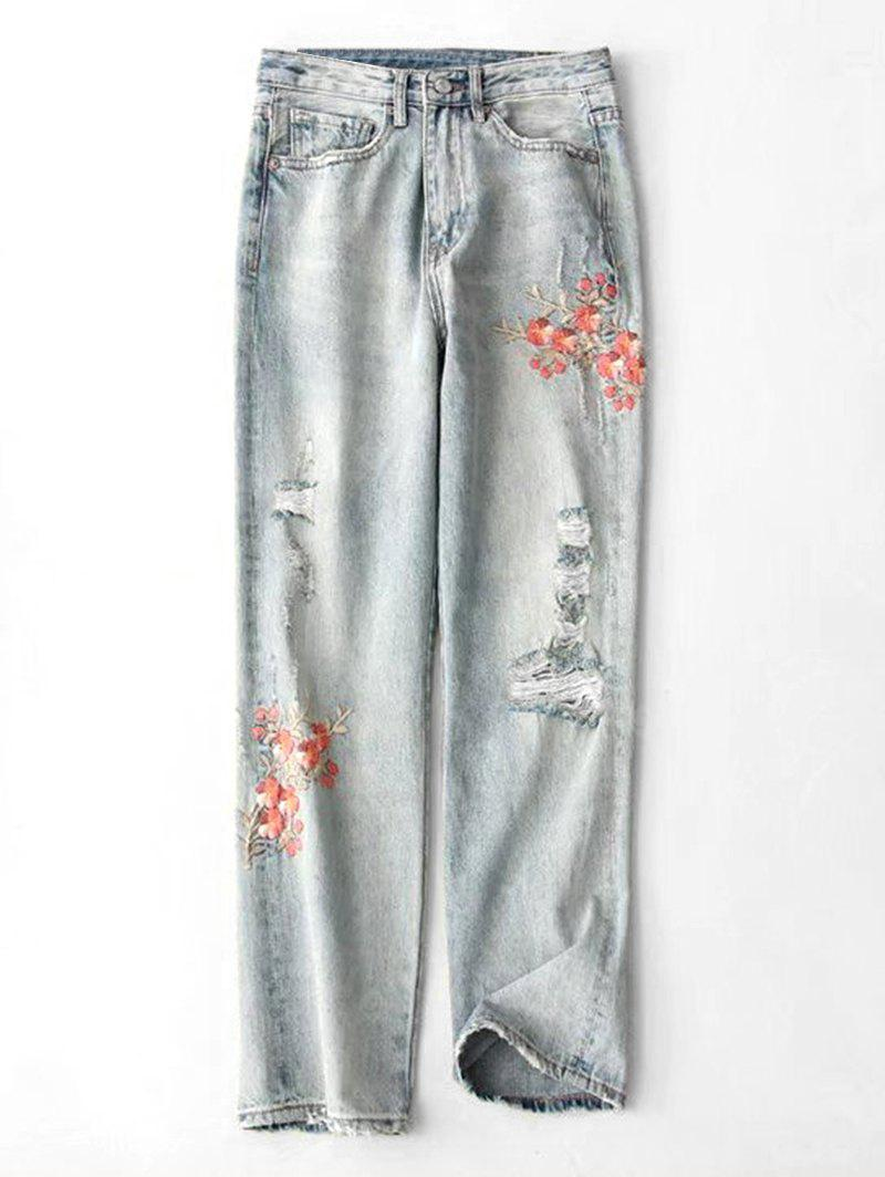 DENIM BLUE S Ripped Floral Embroidered Tapered Jeans