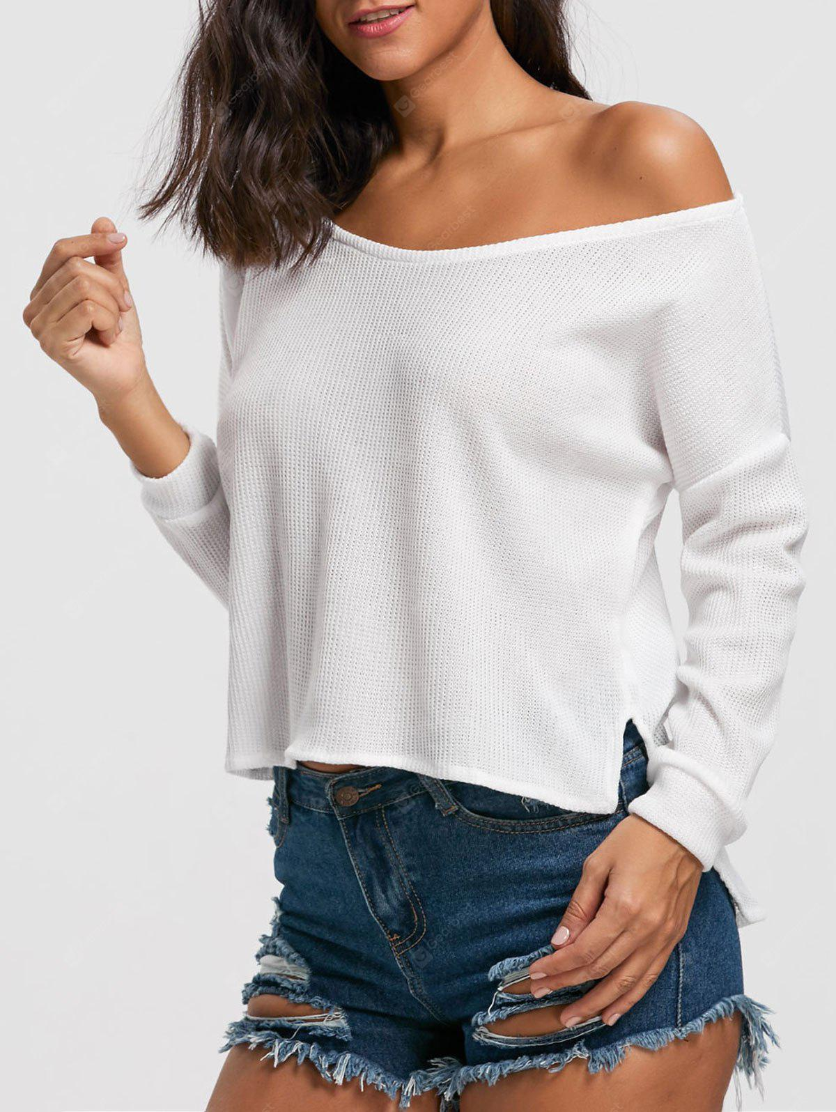 Drop Shoulder High Low Pullover Sweater