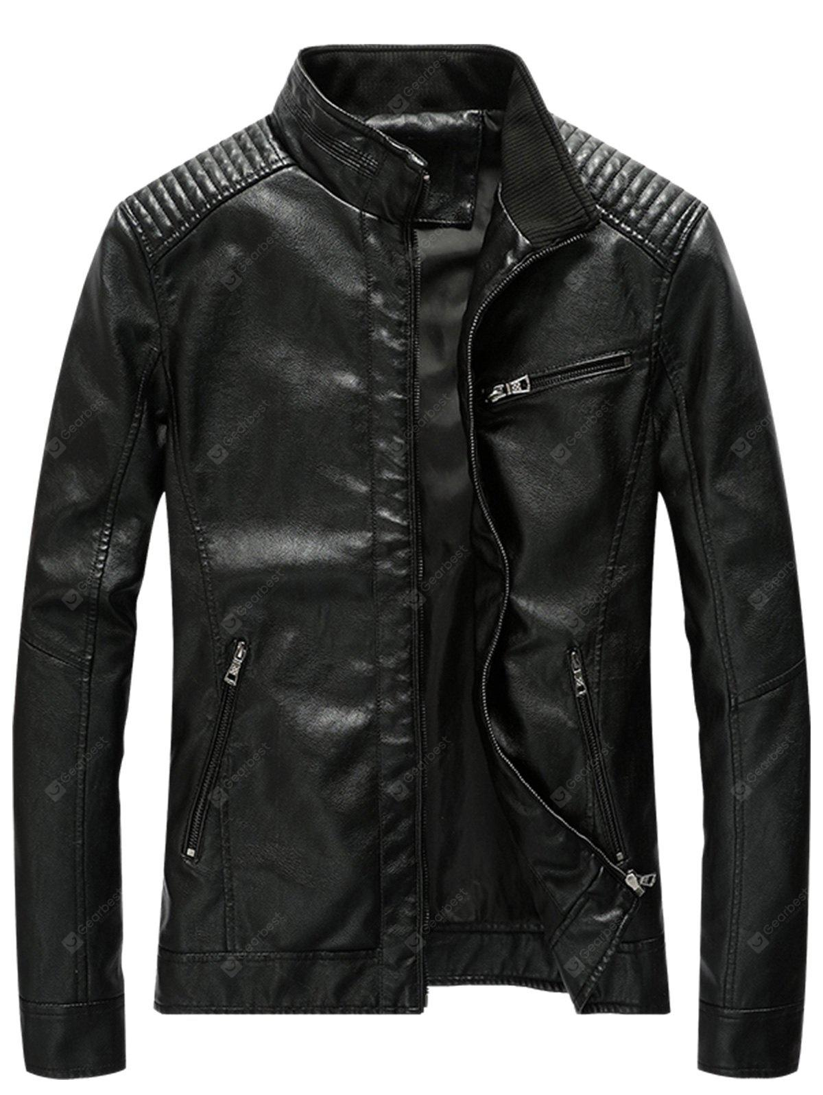 Stand Collar Pleat PU Leather Zip Up Jacket