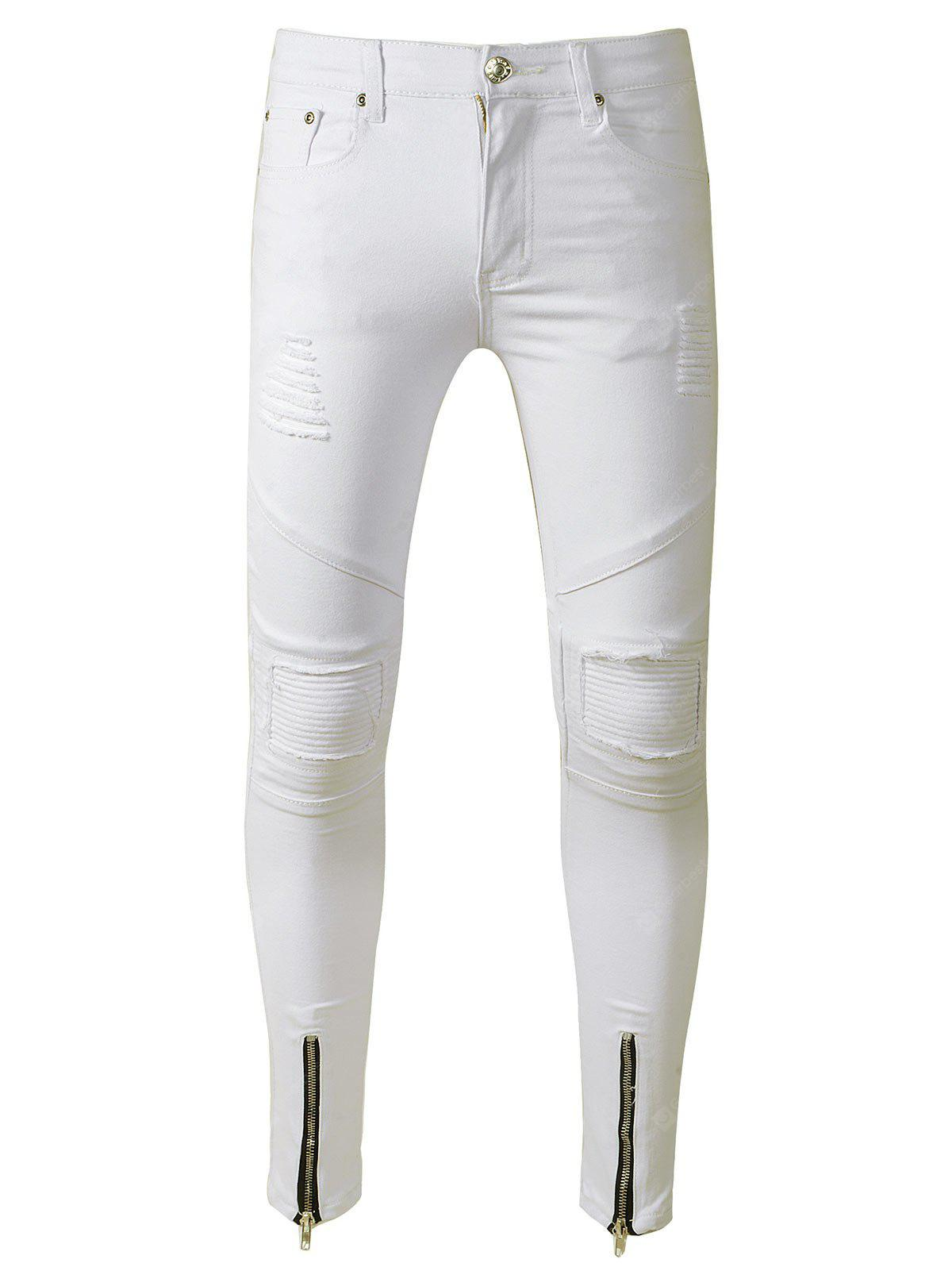 WHITE Skinny Zip Hem Distressed Biker Jeans