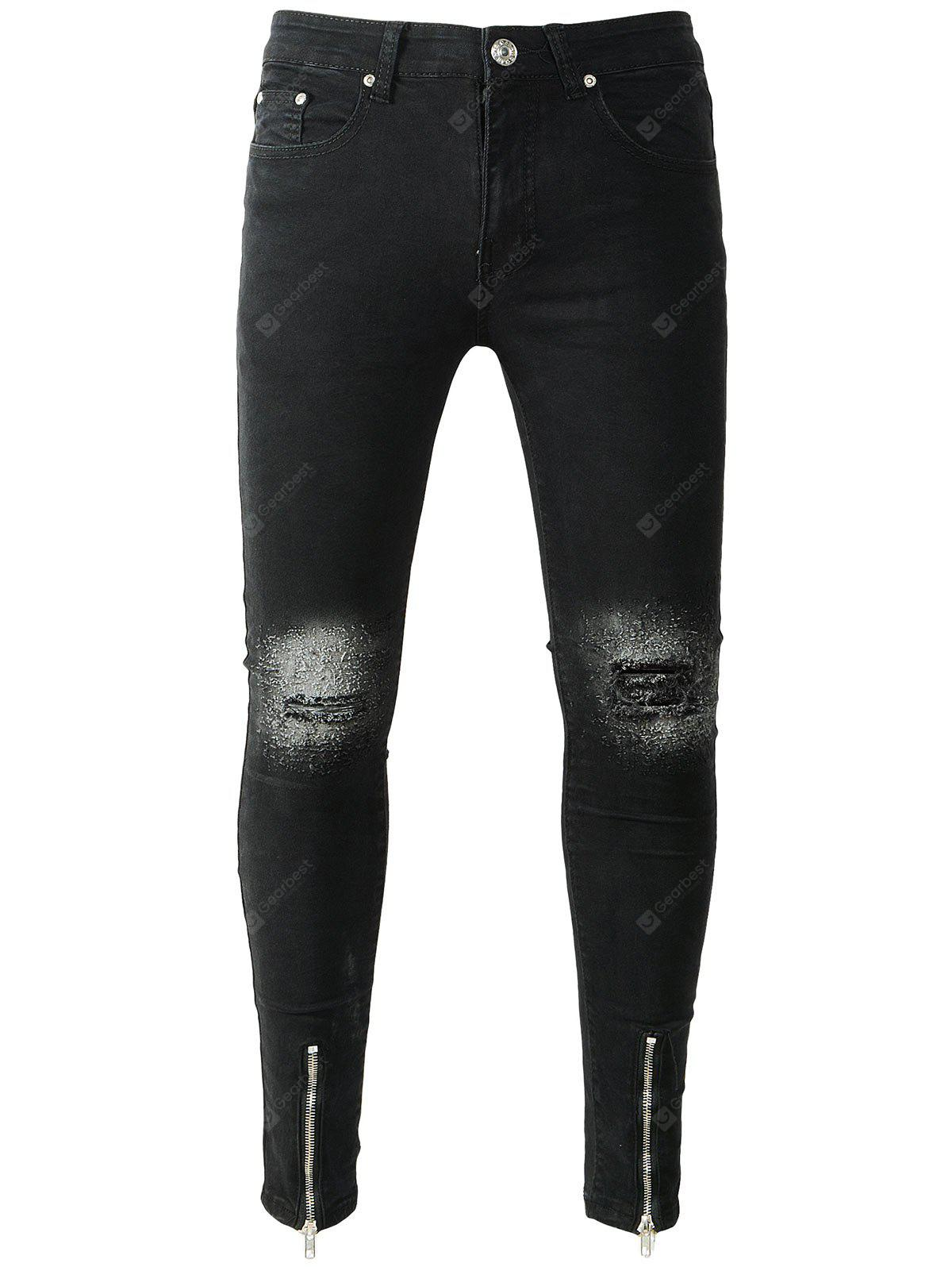 BLACK Zipper Hem Ripped Knee Skinny Jeans