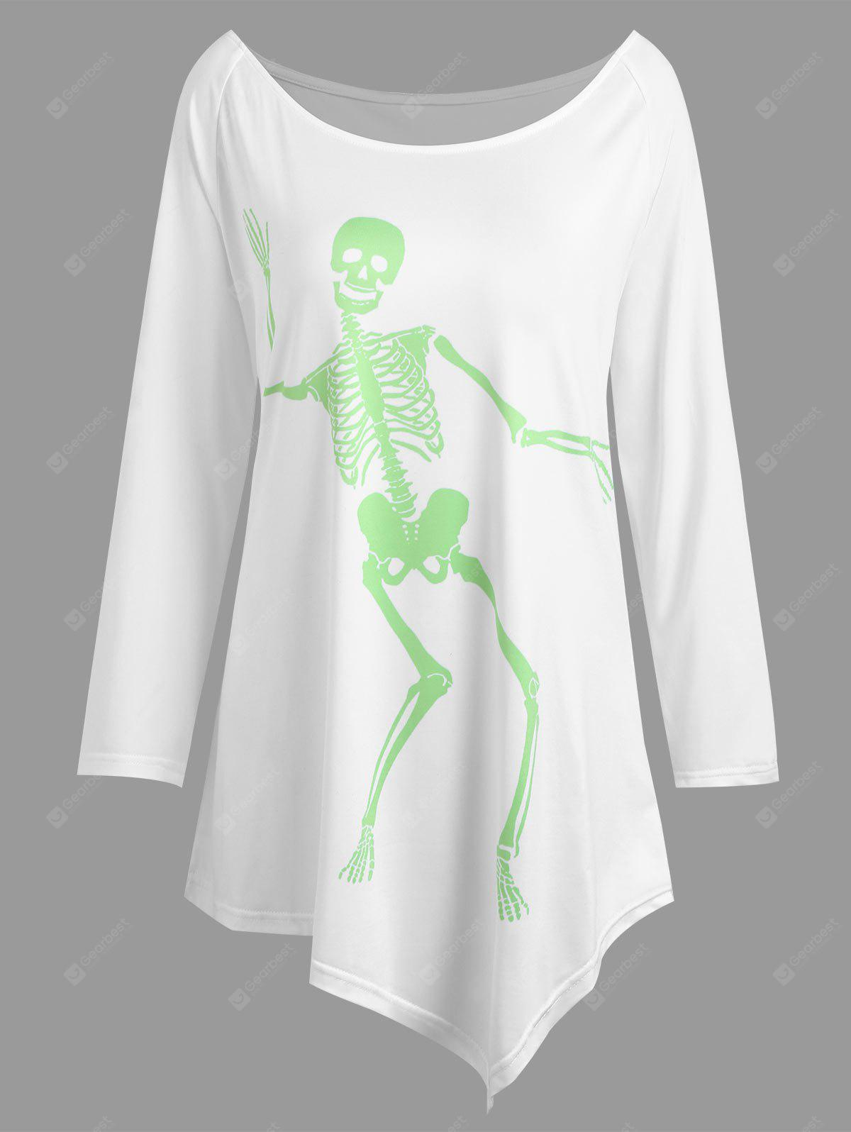 Plus Size Halloween Skeleton Asimmetrico T