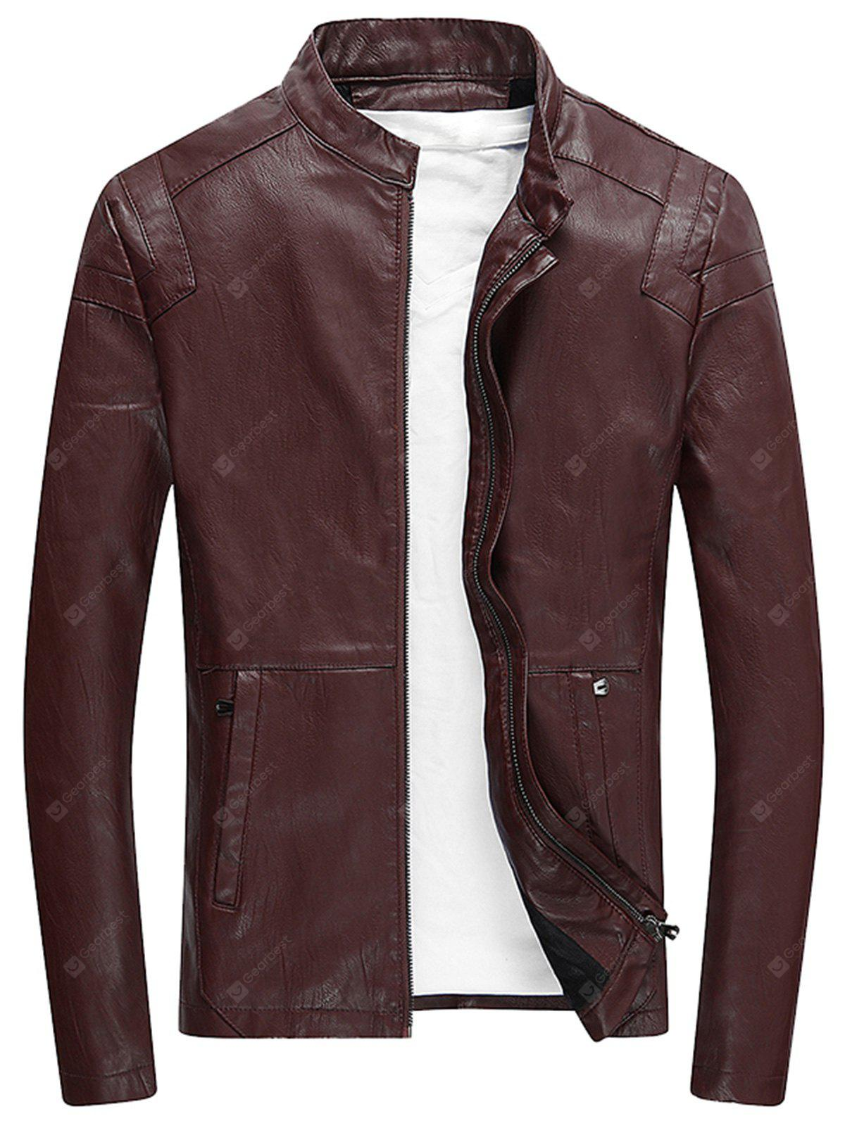 Stand Collar Zip Up Fleece Faux Leather Jacket
