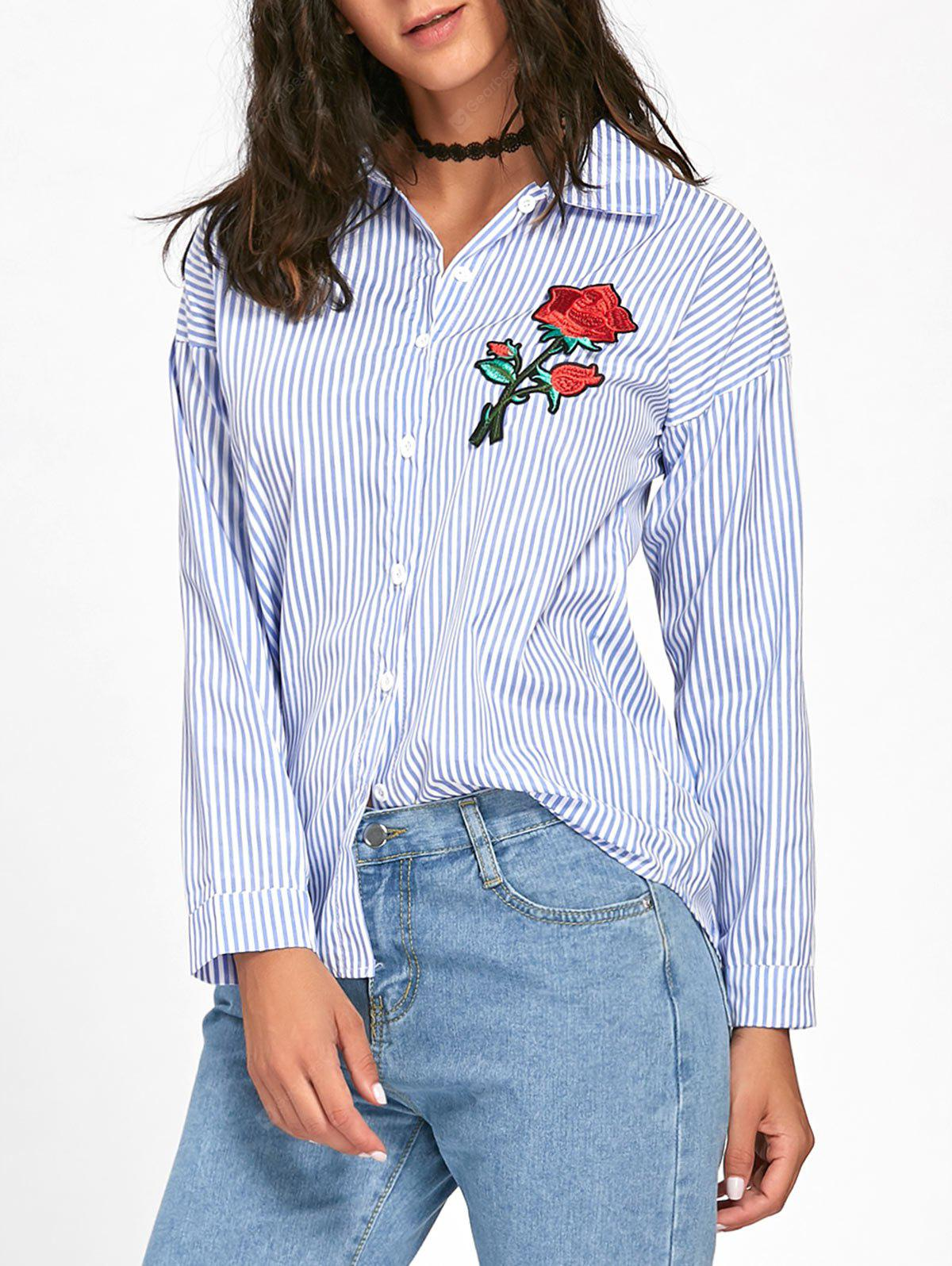Floral Embroidered High Low Striped Shirt