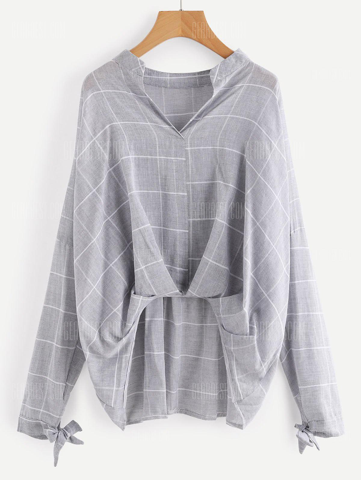 GRAY L Gathered Checked High Low Blouse