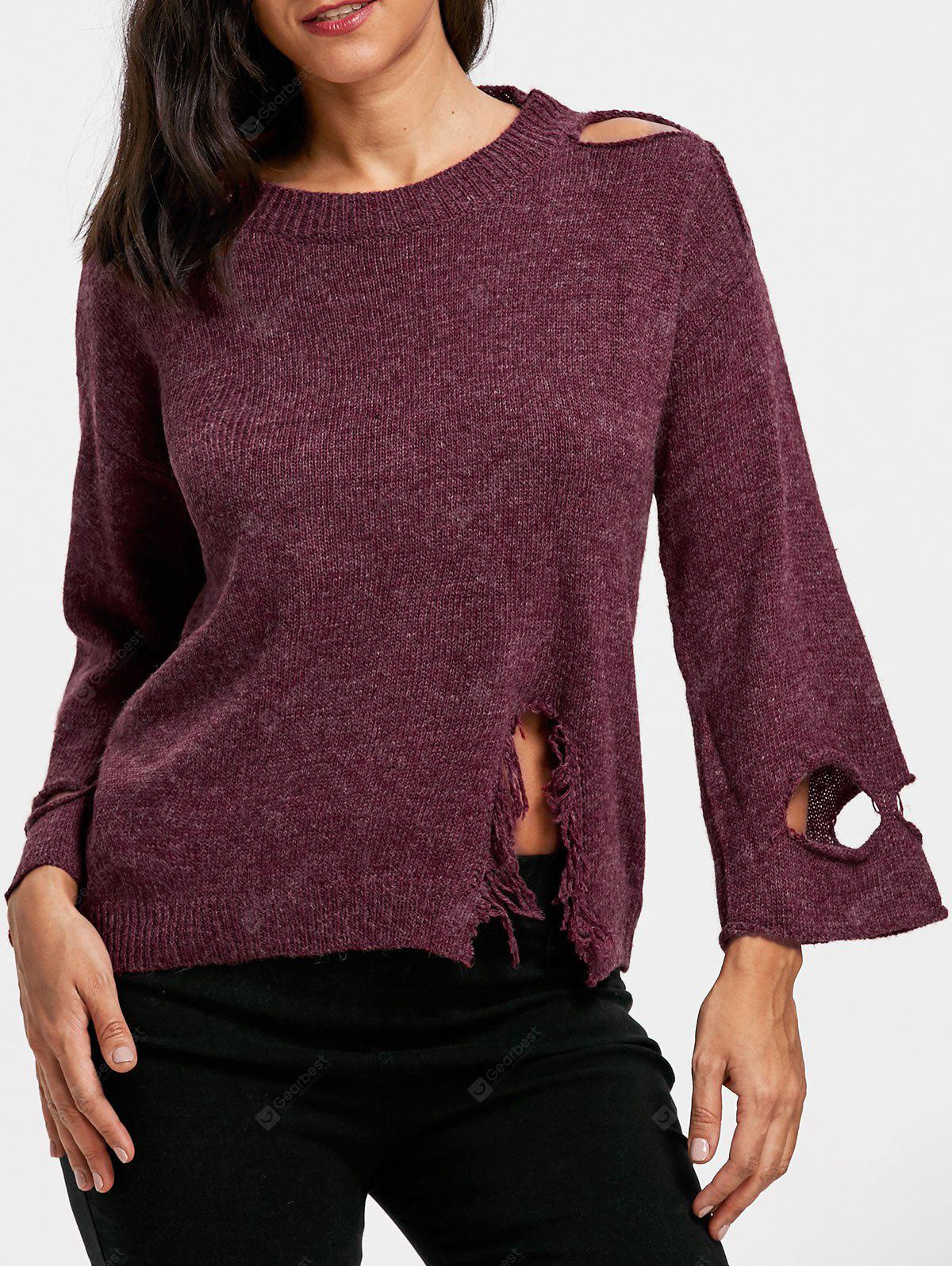 Drop Shoulder Ripped Jumper Sweater