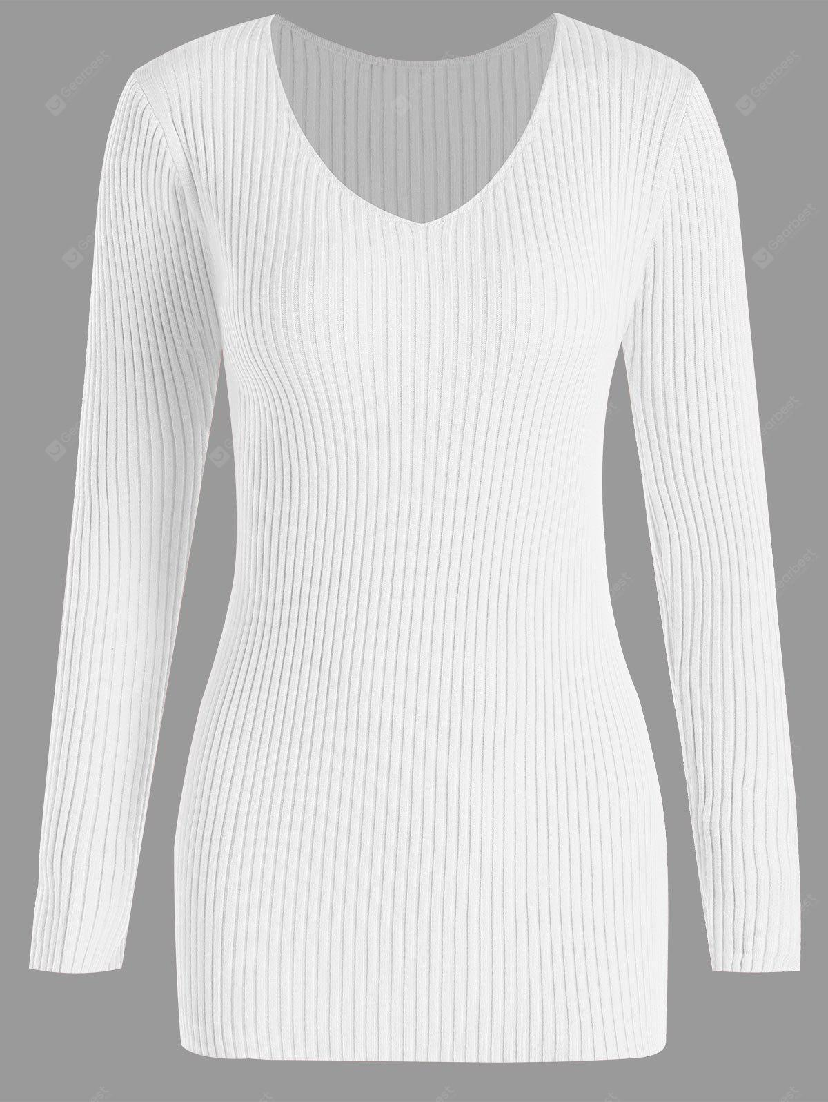 WHITE 3XL Plus Size V Neck Ribbed Sweater