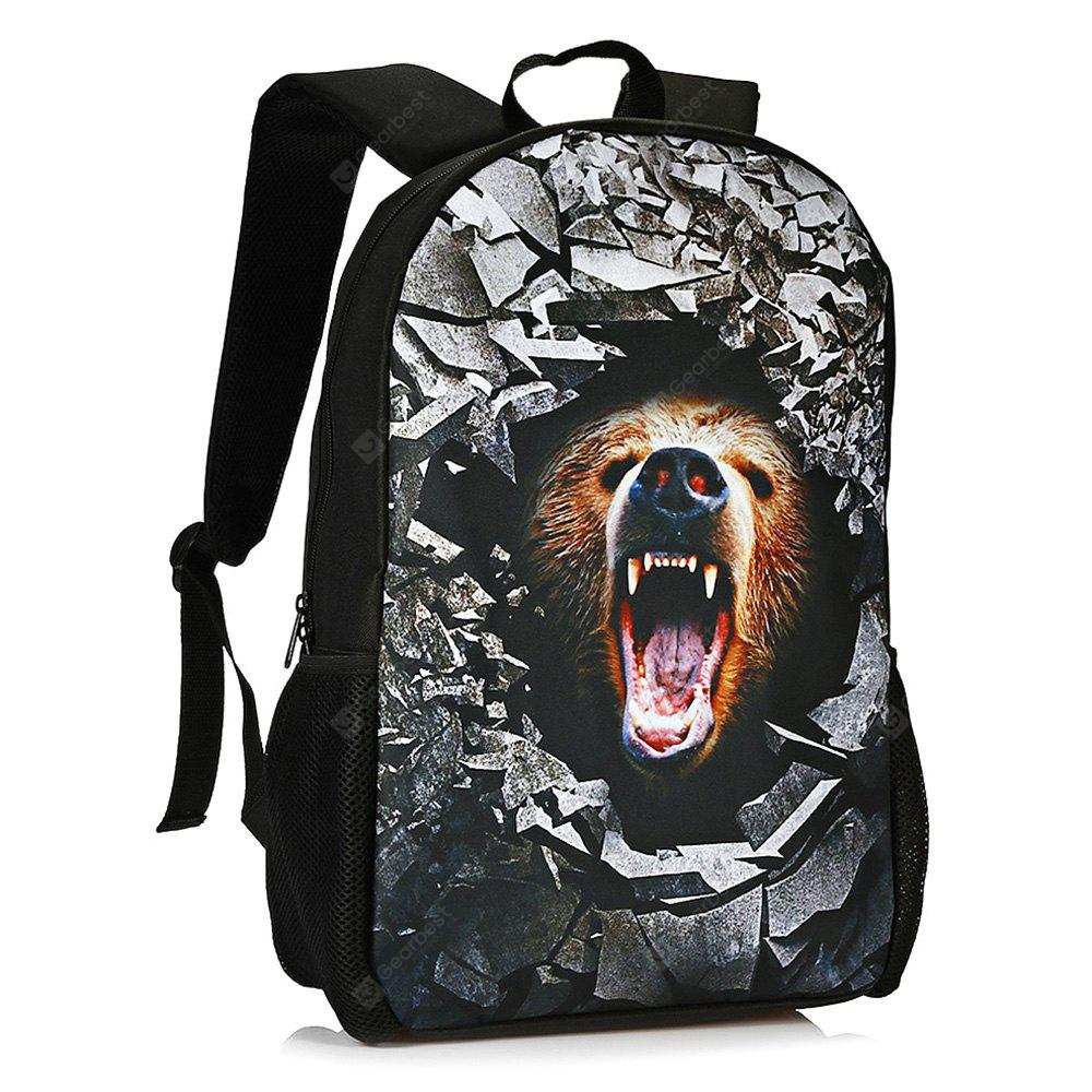 LIGHT BROWN 3D Rubble Animal Print Backpack