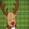 Christmas Deer Geometric Print Shower Curtain - GREEN