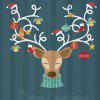 Christmas Reindeer Print Waterproof Bath Curtain - COLORMIX