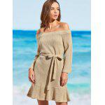 Off The Shoulder Knitted Cover-up Dress - KHAKI