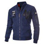 Zip Up Patch Design Bomber Jacket - AZUL ESCURO