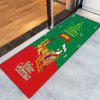 Christmas Sled Flannel Antislip Thin Bath Rug - RED AND GREEN