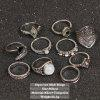 10 Pieces Faux Gem Decorated Vintage Rings - SILVER