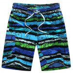 Straight Leg Drawstring Mix Couleur Imprimer Shorts Conseil de Patch Pocket Men - BLEU