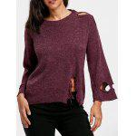 Drop Shoulder Ripped Jumper Sweater - PURPLISH RED