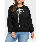 Plus Size Lace Up Drop Hombro Sudadera - NEGRO