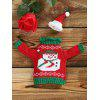 Buy Snowman Sweater Christmas Wine Bottle Cover RED