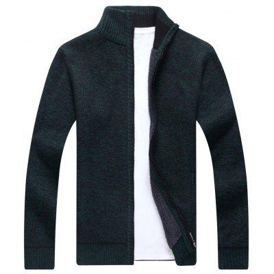Buy BLACKISH GREEN Knitted Zip Up Cardigan for $40.22 in GearBest store