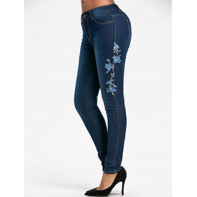 Buy BLUE S High Waisted Floral Embroidered Skinny Jeans for $24.77 in GearBest store