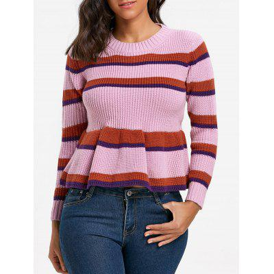 Crew Neck Striped Peplum Sweater