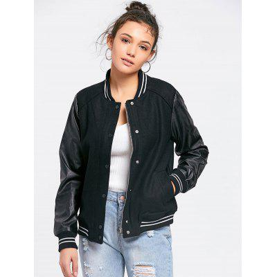 PU Leather Panel Baseball Jacket