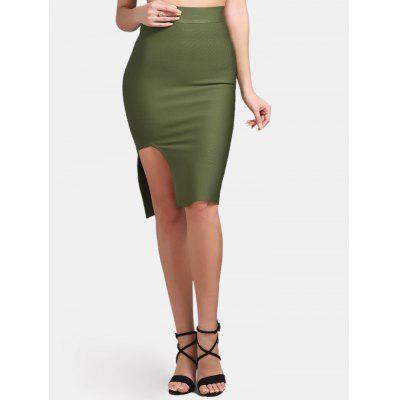 High Waisted Slit Bodycon Skirt