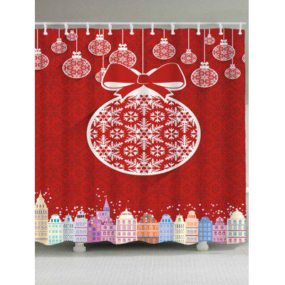 Christmas Ball Building Waterproof Shower Curtain