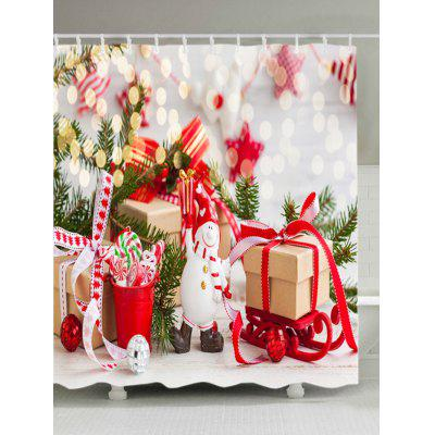 Christmas Tree Gift Print Fabric Waterproof Shower Curtain