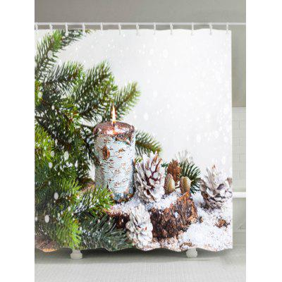 Christmas Tree Snowfield Print Fabric Waterproof Shower Curtain